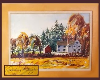 Signed & Framed Harding M. Bush Watercolor, Dated 1973