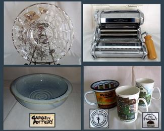 Silver Overlay Platter, New In Box Pasta Making Machine, Garden Pottery Bowl and Coffee Mugs