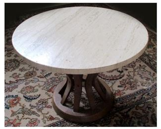 Small Marble Top Table with Wooden Base