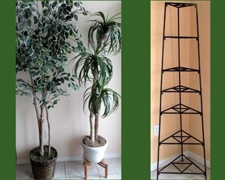Tall Faux Trees and Tall Wrought Iron Shelving Unit