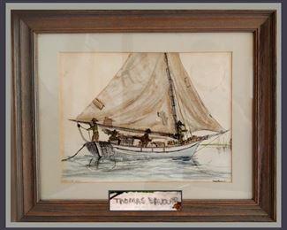"""Thomas Balovar Signed Watercolor Titled """"Bahama Sloop"""""""