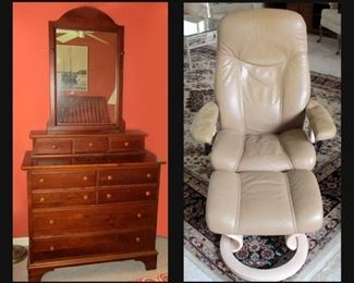 Vintage Chest and Mirror with Dovetailed Drawers;Cedar Lined and Ekornes Stressless Chair and Ottoman