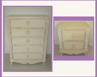 Wicker Chest of Drawers and One of a Pair of Matching Wicker Nightstands