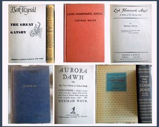 F. Scott Fitzgerald 1925 The Great Gatsby, Thomas Wolfe Look Homeward Angel,  Herman Wouk Aurora Dawn 1947,  and Mastering the Art of French Cooking by Julia Child and Simone Beck