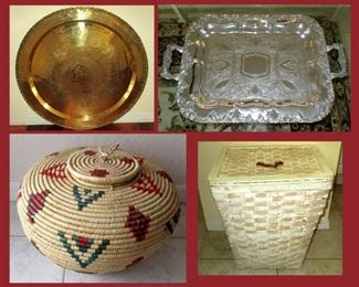 Large Brass Tray; One of Two Available, Large Heavy Ornate Tray, Snake Charmer's Basket and Tall Lidded Basket