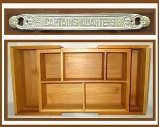 Brass Captain's Quarters Plaque and Adjustable Wooden Box