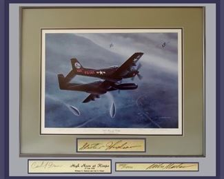 Wonderful Signed and Numbered Lithograph by Mike Machat, Also Signed by the Pilots William Skeeter Hudson and Carl S. Fraser who crewed together in 1948 flying the P61B Black Widow. Comes with COA