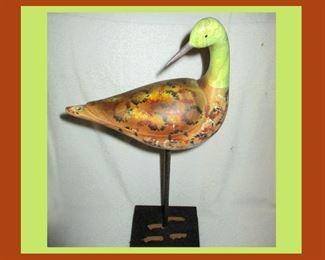 Shorebird Decoy? Very Attractive Painted Wooden Bird on Stand