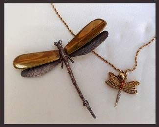 Sterling and Gold Dragonfly Jewelry