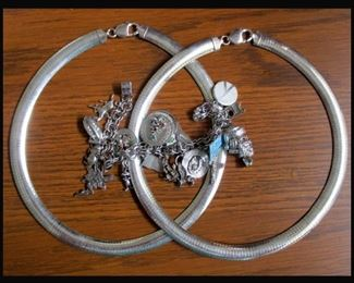 Sterling Silver Jewelry Including One of Two Sterling Charm Bracelets