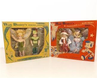 1950's Walt Disney Peter Pan and Pinocchio Dolls in Original Box