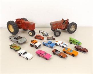 Lit of Vintage Ertl, Matchbox, Hot Wheels, etc. Cars, Tractors, etc.