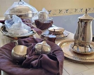 101:  Silver Plated Serving Trays, Tea Pots, Shot Glasses and more! Silver Plated Serving Trays, Tea Pots, Shot Glasses and more!