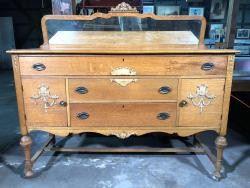Antique Tiger Oak Sideboard on Castors