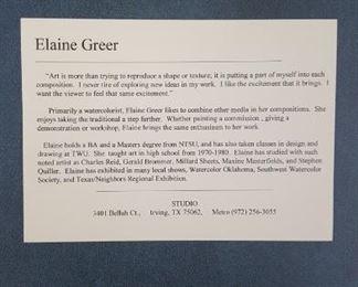 Artist bio. Elaine Greer
