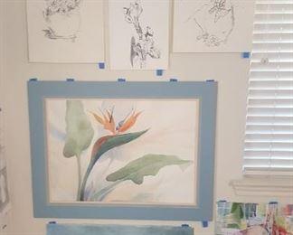 Watercolor art wall #6