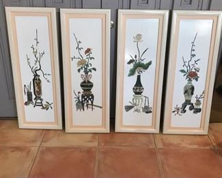 Asian Inspired Jade and Ivory Colored Artwork