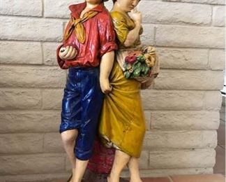 Italian Ceramic Boy and Girl Sculpture