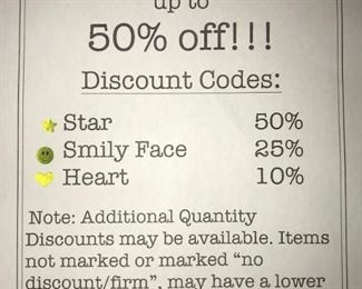 3rd day of 3 day sale! Almost everything on sale,  50% off and more!!
