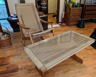 jute rope coffee table and rocking chair