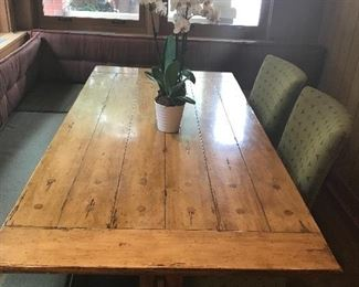 Pine  Trestle table with 2 green upholstered side chairs