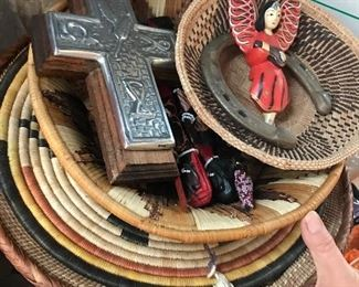 Woven bowls and trays