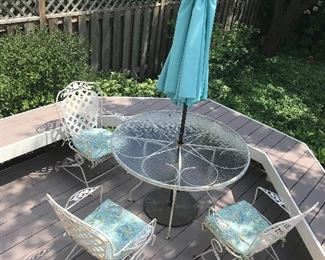 Metal patio set 3 chairs, table, umbrella & holder