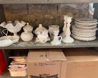 A huge selection of Vintage milk glass