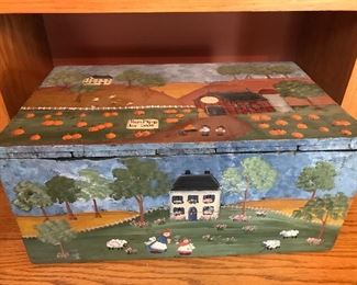 painted primitive box