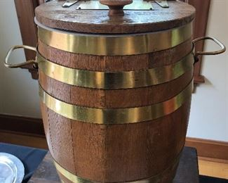 Large oak and brass banded ice chest