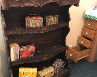Antique French carved bookcase.