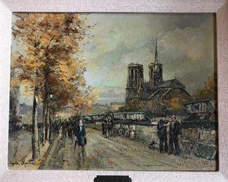 Paris Street Scene signed Charles Blondin , (French  1913 - 1991)