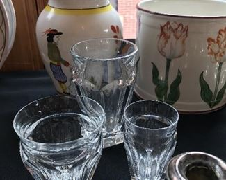 Baccarat Crystal Nelly vases with Quimper pitcher  and               Tiffany jardinere