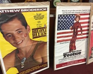 Movie posters from the past, many of them signed (by Matt Dillon, Jeff Bridges, Bernadette Peters, Patricia Neal, Sally Field, and more): Norma Rae, In Harm's Way, Lords of the Deep, Pink Cadillac
