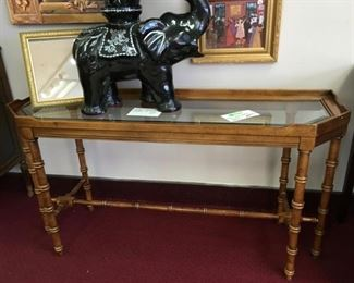 """Nice console table, 52""""x 16"""" (elephant has sold)"""
