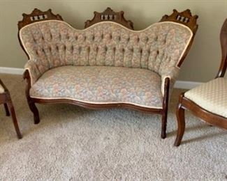 Antique Eastlake settee and two chairs