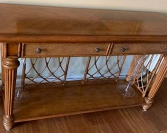 Bombay Company console table, finished on both sides