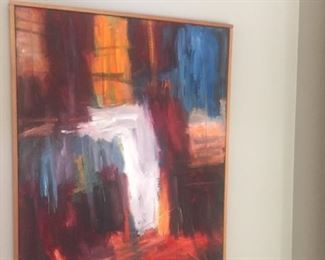 Colorist abstract oil by Danish artist Finn Erndorf-Peterson --he has a following-
