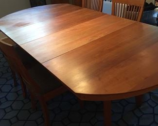 Glorious Amish design Borkholder solid wood table with6 (SIX!) leaves--host all the family you never wanted to see this holiday season-they'll be miles away down at the end--8 chairs too