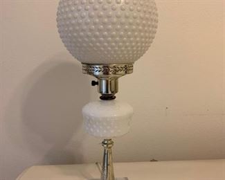 Hobnail Milk Glass Bubble Lamp with Marble Base