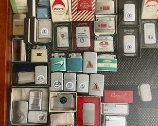 vintage zippo lighter collection, vintage advertising