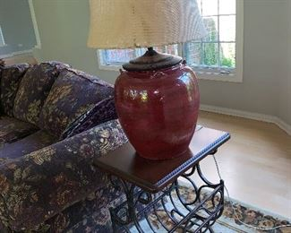 Wood and Wrought Iron side table
