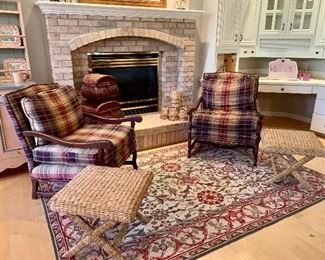 Pair of Tartan plaid  Easy Chairs, Rectangular area rug and matching cane rush stools