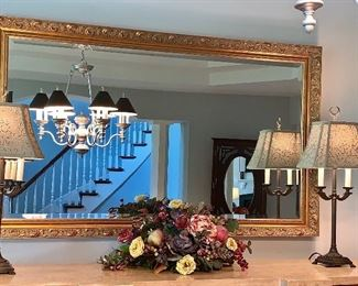 2 matching lamps and floral (gold-tone mirror is not for sale)