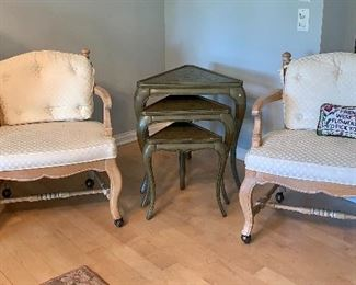 2 of 4 matching side chairs w/wheels and 3 tier stacking table