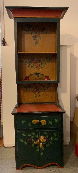 So adorable, and so useful.  Hand-painted, Tall cabinet w/ storage space.