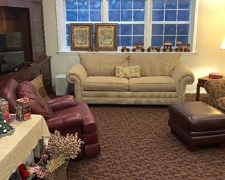 2 cushioned couch, Leather chair and ottoman