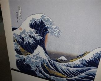 The great wave wall hanging.
