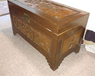 Gorgeous carved camphor chest.