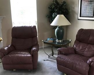 Two Leather Recliners in Mauve Color